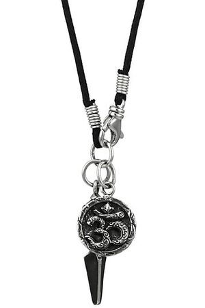 King Baby Studio Sterling & Leather Vajra & Aum Medallion Pendant Necklace