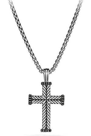 David Yurman Pavé Black Diamond & Sterling Cross Pendant