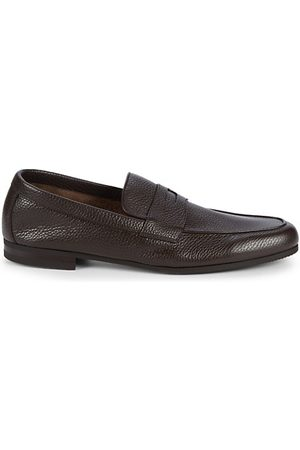 JOHN LOBB Thorne Pebble-Grained Leather Penny Loafers