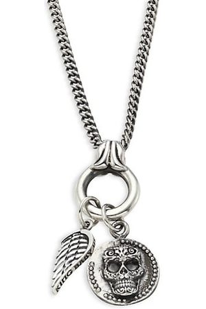 King Baby Studio Baroque Sterling Baby Skull Coin & Wing Pendant Necklace