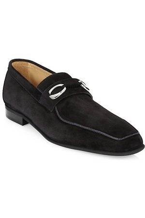 CORTHAY Cannes 2 Suede Loafer With Silver Finished Double C Logo Hardware