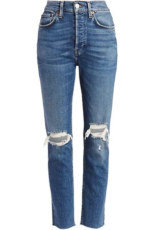 RE/DONE High-Rise Comfort Stretch Ripped Ankle Skinny Jeans