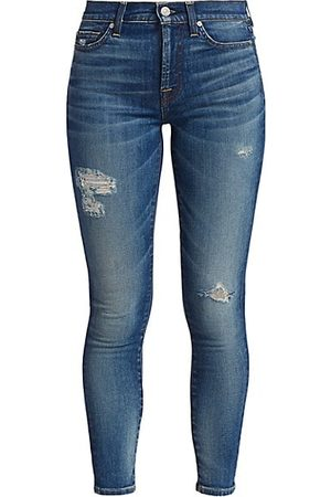 7 for all Mankind High-Rise Destroyed Ankle Skinny Jeans