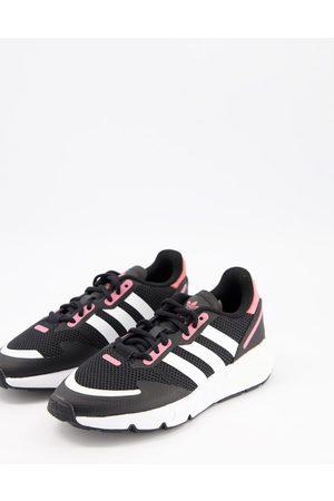 adidas Women Heels - ZX 1K Boost trainers in black with pink heel tab