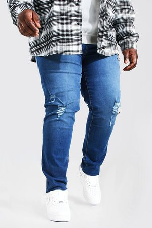 Boohoo Mens Mid Plus Size Raw Hem Skinny Fit Jean
