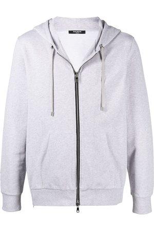 Balmain Men Hoodies - Logo print zip hoodie