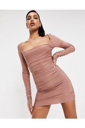 Club L Square neck ruched mini dress in rose brown-Purple