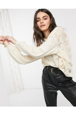 Y.A.S Sweaters - Dusana balloon sleeve textured knit jumper in cream