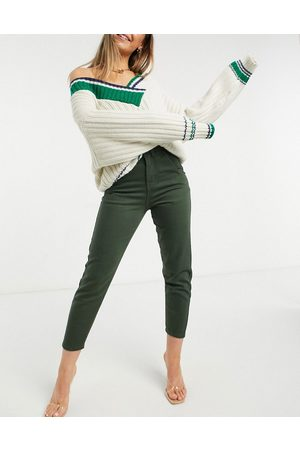 NaaNaa High waisted tapered mom jeans in khaki-Green