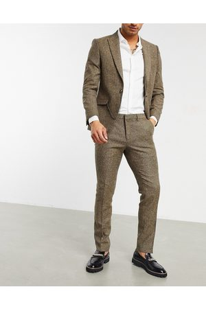 Shelby & Sons Slim suit pants in light brown twill