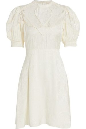 by Ti Mo Jacquard Lace Puff-Sleeve Mini Dress