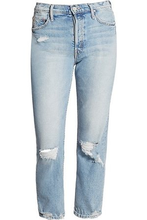 Mother The Tomcat High-Rise Straight-Leg Distressed Jeans