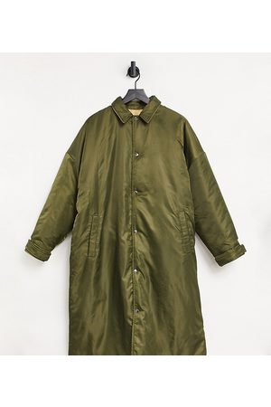 COLLUSION Unisex longline oversized reversible puffer jacket in green