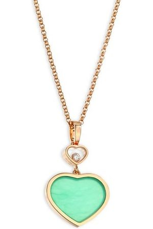 Chopard Happy Hearts 18K , Diamond & Chrysoprase Pendant Necklace