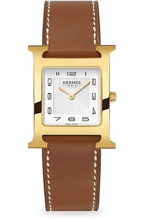 Hermès Heure H 26MM Goldplated & Leather Strap Watch