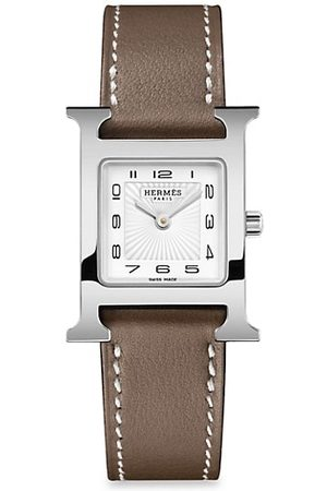 Hermès Heure H 21MM Stainless Steel & Leather Strap Watch