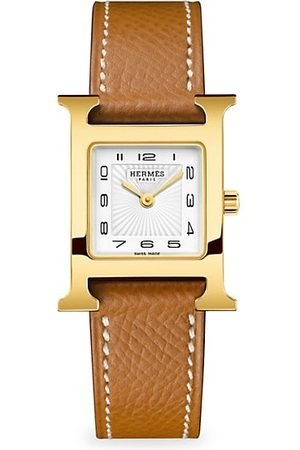 Hermès Heure H 21MM Goldplated & Leather Strap Watch