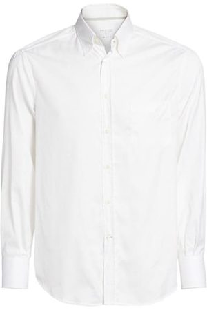 Brunello Cucinelli Men Business - Solid White Button-Down Shirt