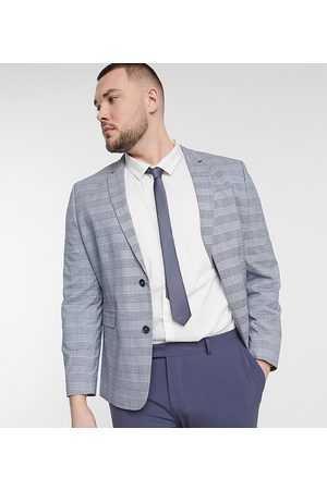 ASOS Plus super skinny suit jacket with prince of wales check in blue
