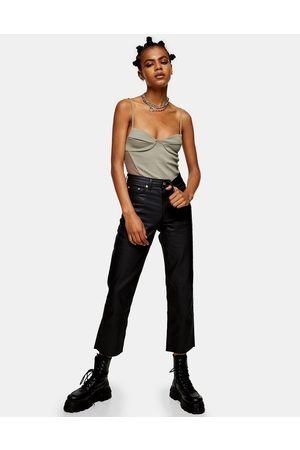 Topshop Coated straight jeans in black