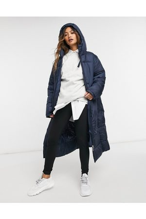 Weekday Ally long padded jacket in navy