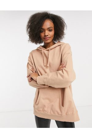 ASOS Oversized panelled hoodie in washed fawn-Beige