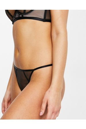 Wolf & Whistle High-leg lingerie thong in mesh and satin binding in black