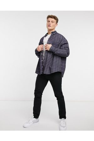 ASOS Oversize wide spliced patchwork check shirt in Navy