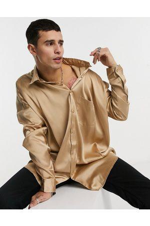 ASOS Oversized satin shirt in brown