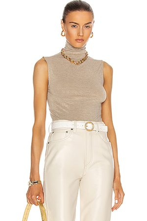 ENZA COSTA Lurex Jersey Sleeveless Turtleneck Top in