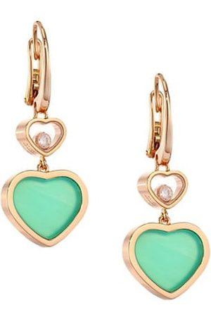 Chopard Happy Hearts 18K , Diamond & Chrysoprase Drop Earrings