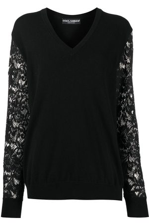 Dolce & Gabbana Lace-sleeve v-neck jumper
