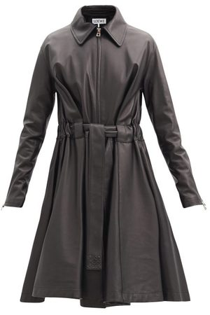 Loewe Belted Leather Coat - Womens