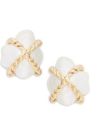 Kenneth Jay Lane Champagne Faux- Clip-On Earrings