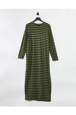 ASOS Long sleeve maxi T-shirt dress in khaki and black stripe-Green