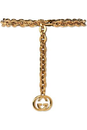 Gucci Women Belts - Chain belt with Interlocking G charm