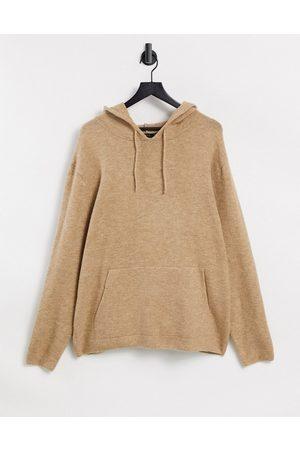 ASOS Knitted co-ord soft yarn hoodie in oatmeal-Beige