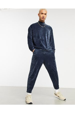 ASOS Co-ord oversized towelling trackies in marl-Blue