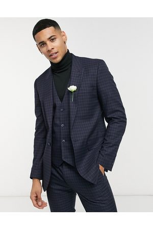 ASOS Skinny suit waistcoat with micro check in navy and green