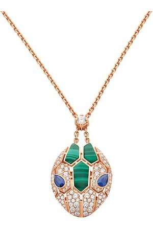 Bvlgari Serpenti Seduttori 18K , Diamond, Malachite & Sapphire Pendant Necklace