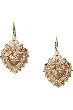 Dolce & Gabbana 18kt yellow diamond Devotion earrings