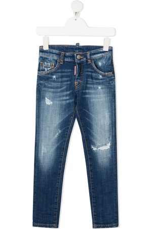 Dsquared2 Boys Straight - Ripped-detail straight-leg jeans
