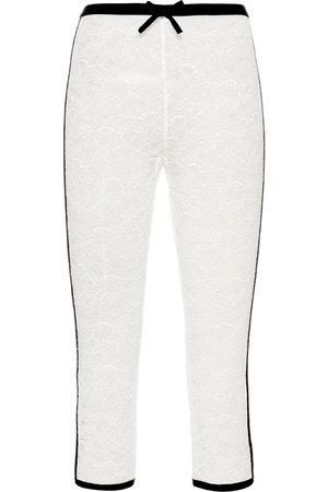 Miu Miu Lace-embroidered cropped leggings