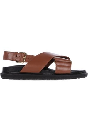 Marni Fussbett Smooth Leather Sandals - Womens - Tan