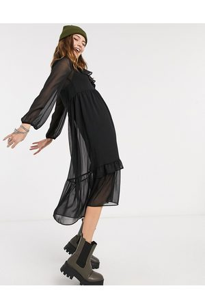 New Look Frill detail chiffon midi dress in black