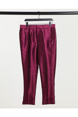 ASOS Tapered smart pants in pink sateen with turn up