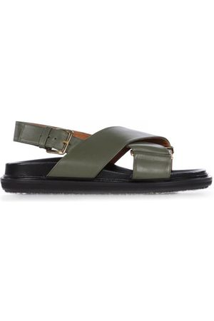 Marni Fussbett Smooth Leather Sandals - Womens - Khaki