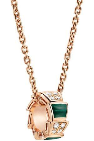 Bvlgari Serpenti Viper 18K , Diamond & Malachite Pendant Necklace