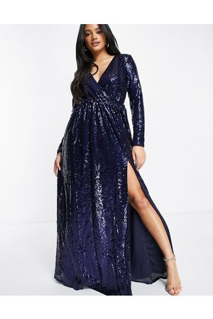 Club L Club L wrap front sequin maxi gown in navy