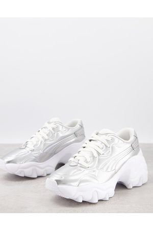 PUMA Pulsar wedge trainers in metallic silver and pink Exclusive to ASOS